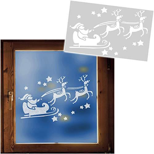 alles-meine.de GmbH große XL Schablonen Vorlage - z.B. für Schneespray - Weihnachtsmann mit Sternen + Rentier Schlitten - 50 cm - für Fensterbilder Fenstersticker - z.B. für Fens..