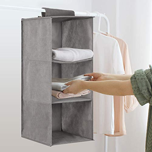 Quieting Three floors Shelves Hanging Wardrobe Shoe Garment Organiser Clothes Storage Grey
