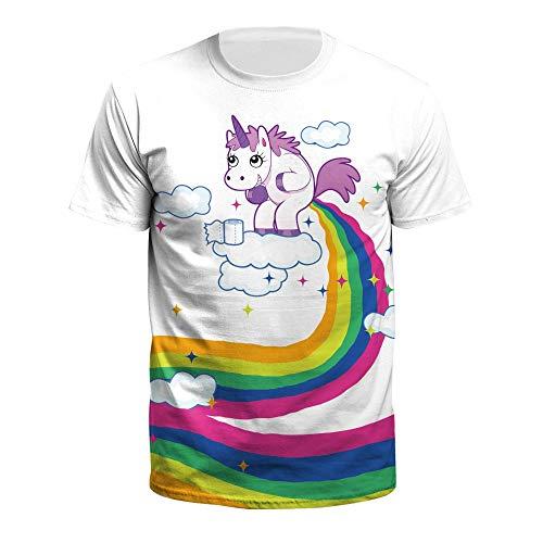 XIAOBAOZITXU T-Shirt Mannen En Vrouwen Liefhebbers Kostuum Leuke Kleine Eenhoorn Korte Mouw 3D Digitale Afdrukken Ronde hals Losse Sport Mode Grote Maat T-Shirt