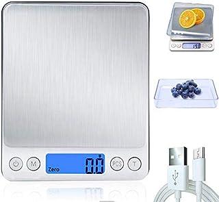 3T6B Básculas con Electrónica de Alimentos, Digital Escala para Cocina con Carga USB, Balanza de Multifuncional Alta Precisión, Peso de Cocina Electrónica con LCD Retroiluminación (0.1-3kg)
