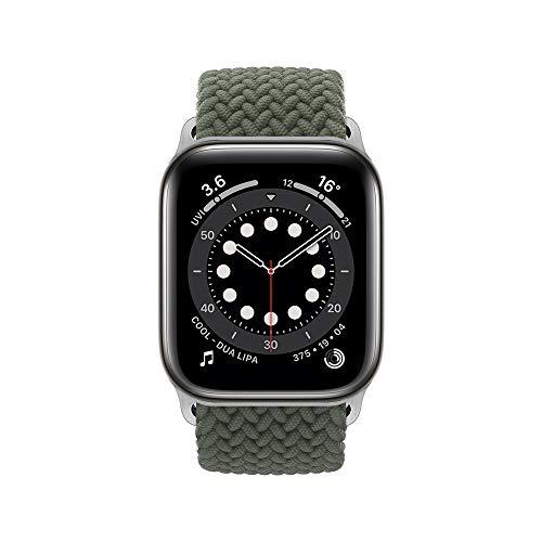 InvokerTech Cinturino Intrecciato Compatibile per Apple Watch 40/38mm 44/42mm, Braccialetti di Ricambio Intrecciati Solo Loop Compatibile con iWatch Series 6/5/4/3/2/1/SE (44/42mm - XL, Verde Oliva)