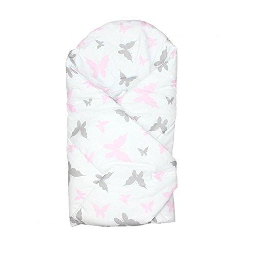 TupTam Baby Unisex Einschlagdecke Wattiert Gemustert, Farbe: Schmetterlingchen Rosa, Größe: ca. 75 x 75 cm