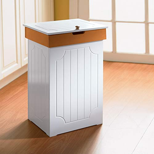 BrylaneHome Country Kitchen Trash Can, White Honey