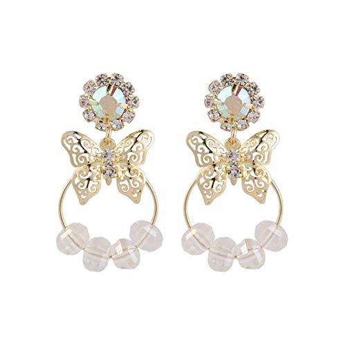 Yhhzw Elegantes Pendientes Colgantes Geométricos De Mariposa Hueca De Cristal Para Mujer, Joyería Pendientes, Regalos