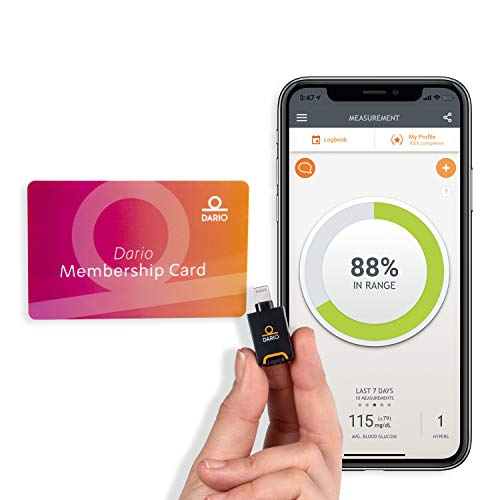 Dario Value Pack Kit: Blood Glucose Monitoring Set. Test Your Blood Sugar on Your iPhone Smartphone. Estimate A1c. Kit for Diabetes Includes: Glucose Meter, 50 Test Strips, Lancing Device, 10 Lancets