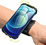 VUP Wristband Phone Holder, 360° Rotatable Forearm Armband for iPhone 12/12 Pro/12 Mini/SE 2020/11/11 Pro/Xs/XR/X/8/7/Plus, Fits All 4-6.5 Inch Smartphones, Great for Hiking Biking Running (Black)