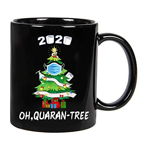 2020 Funny Quarantine Christmas Tree Ornament Mask Gift Ceramic Coffee Mug, Cup 11oz, 15oz (15oz)