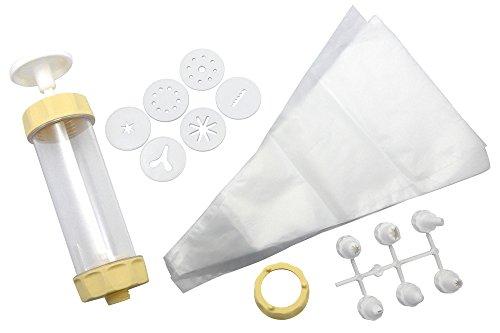ZENKER 15285 Gebäck- und Dekorierset,Spritzbeutel,Tüllen,Gebäckpresse, Kunststoff, creme/weiß