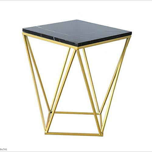 YNN Table Tables d'appoint de Table d'appoint en métal de Table d'appoint Tables Basses Rondes pour Salon en marbre avec Cadre en métal Noir Blanc (Couleur : Noir)