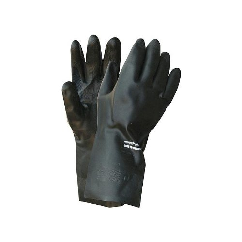12 Paar NITRAS Chloroprene-Handschuhe 3460 Black Barrier velourisiert 30 cm - guter Schutz vor Alkoholen, Säuren, Laugen, Größe:10