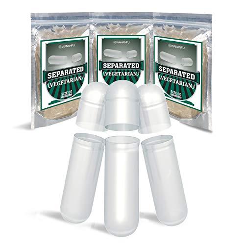 Wananfu Cápsulas Vacías Separadas Tamaño 00 Vegetales, 1000 Piezas, Transparente, Compatible con la máquina de llenado de cápsulas 00