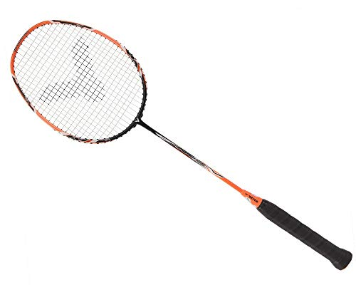 VICTOR Arrow Power 6000 G5 Strung Badminton Racket String Tension Upto 33lbs (Orange/Black) (4U)