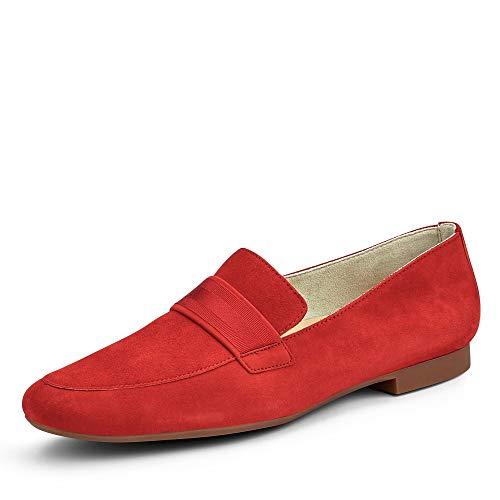 Paul Green 2462 056 klassischer Damen Slipper aus Veloursleder mit Lederfutter, Groesse 38 1/2, rot