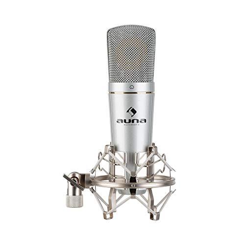 auna MIC-920 USB Kondensatormikrofon, Studio-USB-Großmembranmikrofon, Kopfhörer-Ausgang, Plug & Play via USB, ausgeprägte Nierencharakteristik, inklusive Kopfhörerausgang und Mikrofonspinne, silber