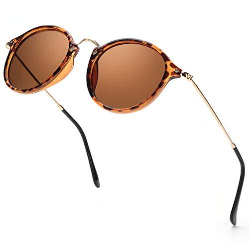 ELIVWR Redondas Retro Polarizadas Gafas de Sol Hombre Con Gafas de Sol Para Conducir Viajes Playa, 100% de Protección Contra Los Rayos UVA/UVB Dañi (marrón/marrón)