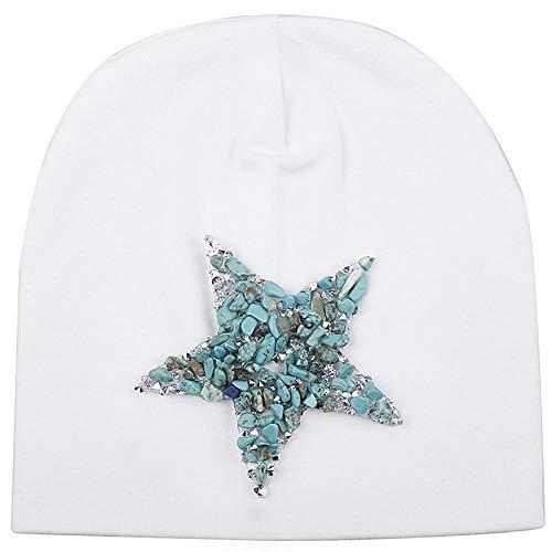 Beanie Hat Spring Soft Pentagram Cotton Hats Girls Hats Kids Boys Skullies Beanies Hat Cap Accessories-Green_White