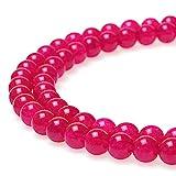 jartc Perline Per Braccialetti Energetico Braccialetto Yoga Braccialetto Fai da Te Perle di Pietra Calcedonio Rosa Rossa 32 Pezzi , 34CM,12 mm