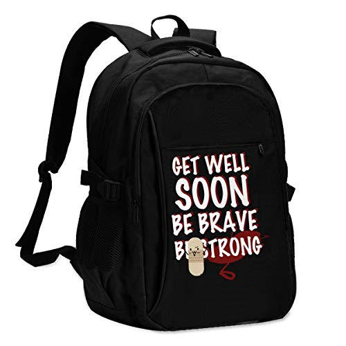 Get Well Soon Be Brave Be Strong Women's Men's Travel Business Daily Computer Backpack with USB Charging Port