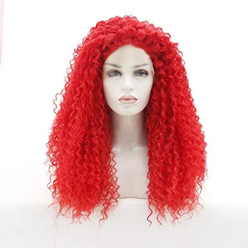 LUZIWEN Dentelle européenne et perruque américaine petit rouleau perruque fil perruque rouge à haute température peut être colorant chaud (Color : 16 inches)