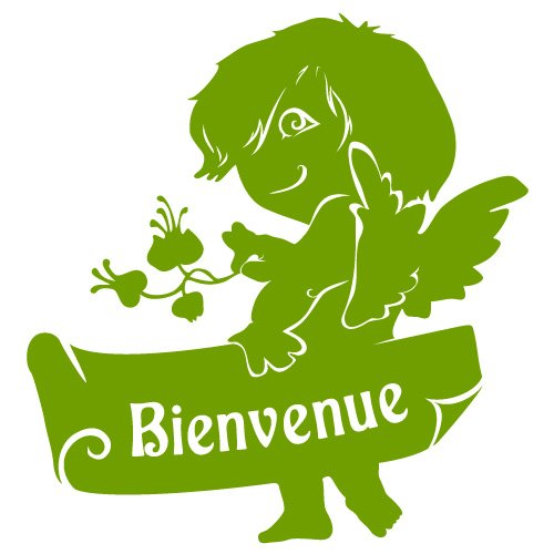 sticker Ange de Bienvenue Vert du Sud 40x42 cm