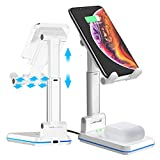 DM Wireless Charger Phone Holder for Desk, 2 in 1 Dual Wireless Charging Stand 10W Qi Fast Charger Compatible with iPhone 11/Pro/Xs/Max/XR/X/8/8P, Samsung S10/S9/S8/Note10, AirPods Pro White