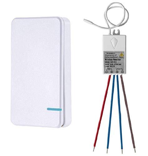 Thinkbee Funkschalter Set mit Fernbedienung, MINI kabelloser Lichtschalter Wasserdicht Wireless Schalter für In-/Außen Lampe 1000W Installierbar/Tragbar Funktaster 60.0000 Mal Verwendbar-1 Taste
