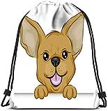IUBBKI Mochila con cordón, Chihuahua sosteniendo el borde de una tabla Mochila de corredor de yoga Bolsas para zapatos