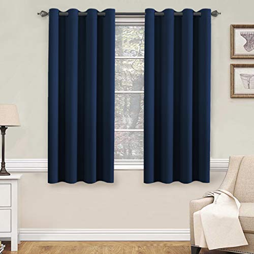 """H.Versailtex Premium Blackout Thermal Insulated Innovated Microfiber Home Fashion Window Curtains for Bedroom,Antique Grommet ,52"""" W x 63"""" L - Navy Blue - Set of 2 Panels"""