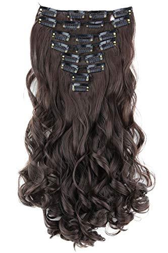 PRETTYSHOP XL 45cm 7 Teile Set CLIP IN EXTENSIONS Haarverlängerung Haarteil Voluminös Gewellt Schokobraun CE10-1