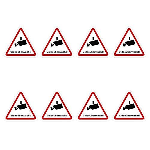 kleberio® 8 Selbstklebende Aufkleber Videoüberwachung - Achtung Videoüberwachung - 2,5 x 2,5 cm Hinweisschild Warnschild Kameraüberwachung Alarmanlage alarmgesichert Privatgrundstück verboten