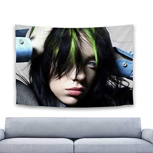 Tapiz de Billie Eilish, arte colorido, colgante de pared, póster para dormitorio, sala de estar y dormitorio, decoración de Billie Eilish, 100 x 150 cm