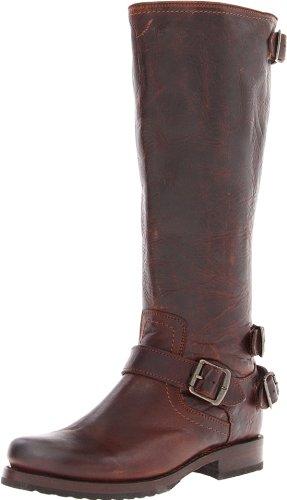 FRYE Women's Veronica Back-Zip Boot, Dark Brown Antique Pull-up, 5.5 M US