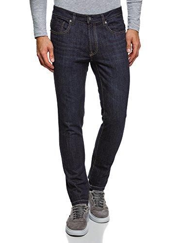 oodji Ultra Herren Jeans Slim-Fit mit Ziernähten an den Seitentaschen, Blau, 33W / 34L