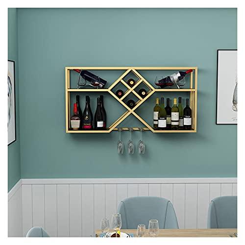 Gabinete de vino montado en la pared de hierro forjado, estante de vino de la pared de decoración creativa en el restaurante, estante de vino colgante de múltiples capas