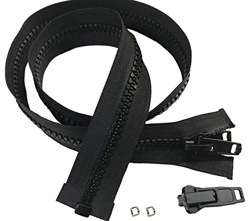 EZ-Xtend Lenzip #10 Separating Zipper For Canvas - Heavy Duty Cut To Length w/Double Plastic Locking Zipper Pull - Includes Stainless Steel Zipper Bottom Stop And Extra Slider Replacement (Black, 60)