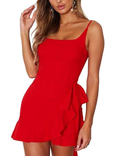 Relipop Women's Dress Spaghetti Strap Waist Tie Knot Wrap Front Ruffle Hem Short Dress Red