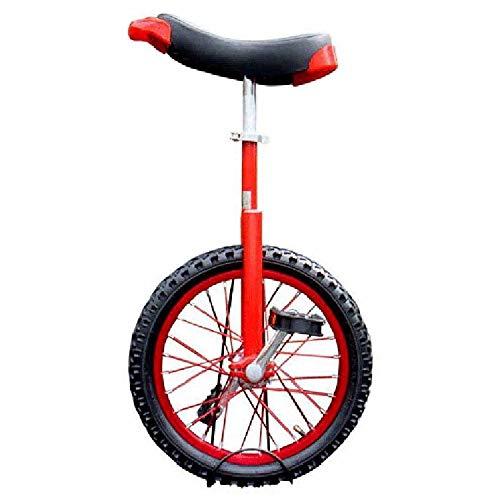 Monociclo Ajustable,Kids Adultos Acrobacia Profesional Rueda Entrenador Equilibrio Ciclismo Ejercicio Monorrueda Pedales sillín de Contorno Ergonómico / 18 inches/rojo