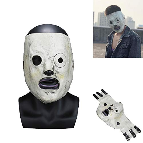 Funny Corey Taylor Cosplay Full Face Latex Mask Costume Props Adults Halloween Party Music Theme Horror Fancy Dress Up with Adjustable Satin Ties