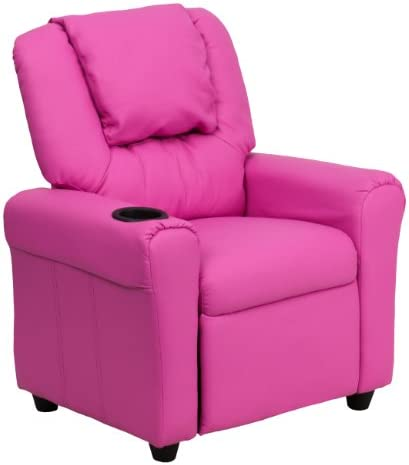 Best Flash Furniture DG-ULT-KID-HOT-PINK-GG Contemporary Hot Pink Vinyl Kids Recliner with Cup Holder and