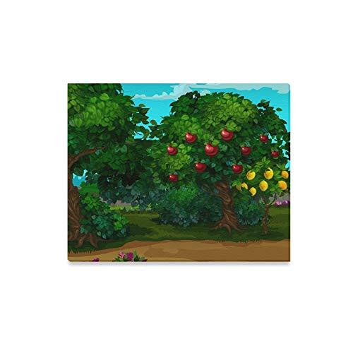LINPM Leinwanddrucke Wandkunst EIN Garten mit Reifen Früchten Cartoon Nahaufnahme Vektor gerahmte Leinwand Wand Arthome Kunstwerk Dekoration für Wohnzimmer, Schlafzimmer Dekor 20