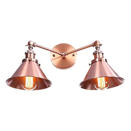 LOFT Linterna con embudo Shade metal, 2-E27 Retro apliques industriales, ajustable lámpara de pared de brazo largo, la pared del hierro Luz interior del aplique de la vendimia, por pasillo Escalera Ba