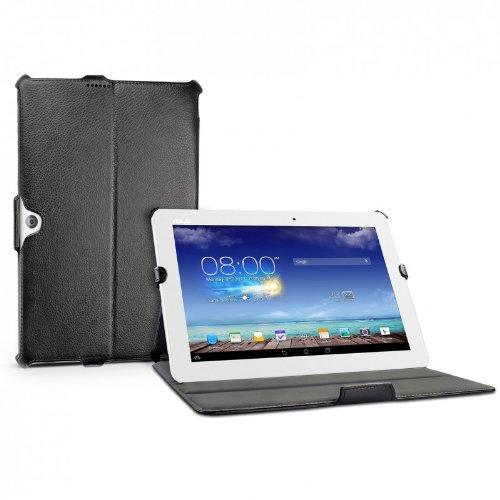 eFabrik Tasche für Asus Memo Pad 10 ME102A 25,40 cm (10 Zoll) Hülle Case Cover Schutzhülle Etui Bookstyle Leder-Optik schwarz