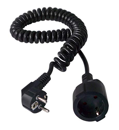 Electraline 900055 Prolongador de 2.5 m con Toma Schuko, Cable en espiral 3G1.5 mm², Color Negro