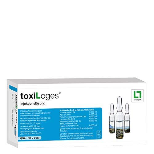 toxiLoges® Injektionslösung 50 x 2 ml - Unterstützung bei Fieber und Infekten - Homöopathisches Arzneimittel bei Erkältungen, grippalen Infekten, Mandelentzündungen, Bronchitis und Sinusitis