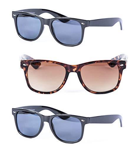 Mass Vision 3 Pair of Unisex Reading Sunglasses - Full Frame Sun Readers (Non bifocal) (Black/Tortoise, 1.75)