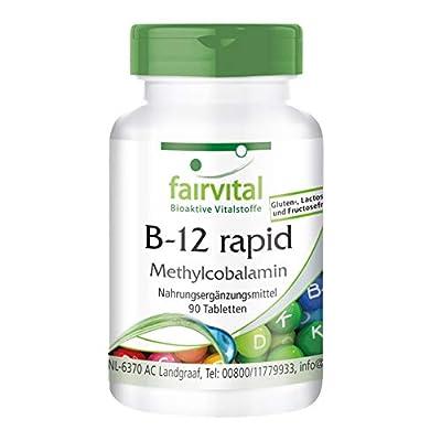 fairvital - B12 Rapid as Methylcobalamin (Vitamin B12 500mcg with Folic Acid, Biotin, B6, Rutin & More) - 90 Vegetarian Tablets from fairvital