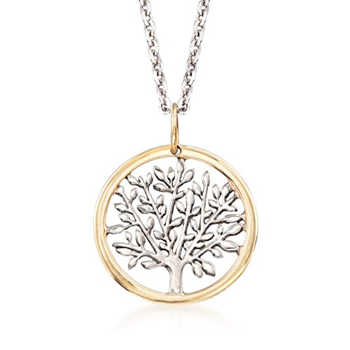 Ross-Simons Sterling Silver and 14kt Yellow Gold Tree Of Life Pendant Necklace. 18 inches