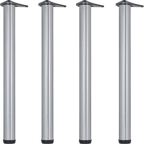 Gedotec Möbelfüße Edelstahl Tischbeine höhenverstellbar Tischfüße Metall - H1712 | Höhe 710 mm | Ø 60 mm | Verstellfüße inkl. Befestigungsmaterial | 4er Set - Stützfüße für Küchen-Arbeitsplatten