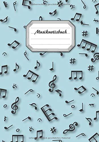 Musiknotizbuch mit linierten Seiten (links) und Seiten mit Notenzeilen (rechts) | Manuskript für Musiker, Musikschulen, Studierende der Musiktheorie Deckblatt in deutscher Sprache