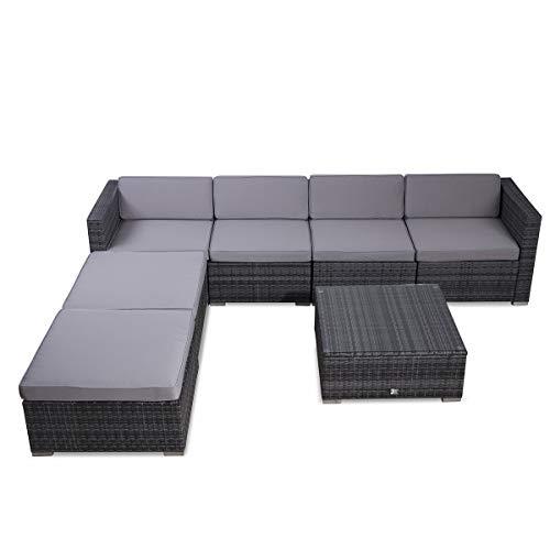 SVITA Lugano Poly Rattan Lounge Garten-Set XXL Sofa-Set Garnitur Gartenmöbel Couch-Set (XXL, Grau) - 2